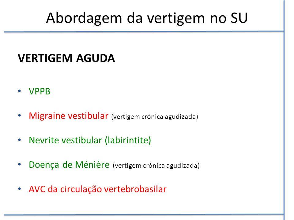 Abordagem da vertigem no SU VERTIGEM AGUDA VPPB Migraine vestibular (vertigem crónica agudizada) Nevrite vestibular (labirintite) Doença de Ménière (v