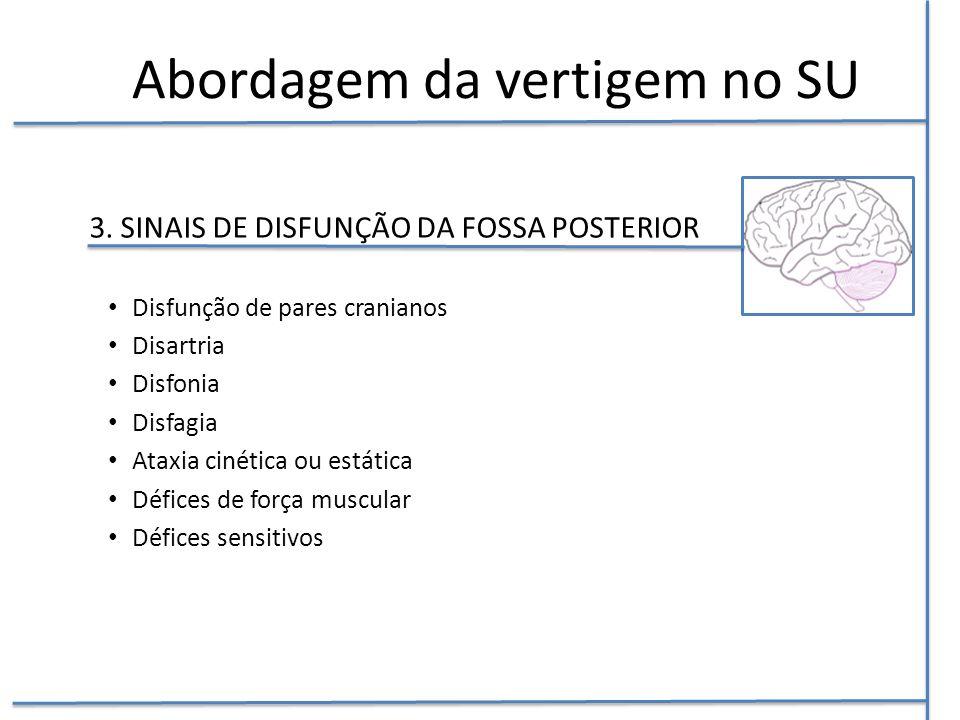 3. SINAIS DE DISFUNÇÃO DA FOSSA POSTERIOR Disfunção de pares cranianos Disartria Disfonia Disfagia Ataxia cinética ou estática Défices de força muscul