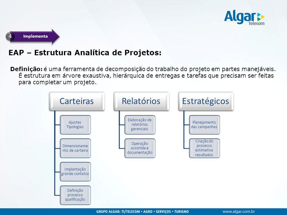 Implementa EAP – Estrutura Analítica de Projetos: Definição: é uma ferramenta de decomposição do trabalho do projeto em partes manejáveis.