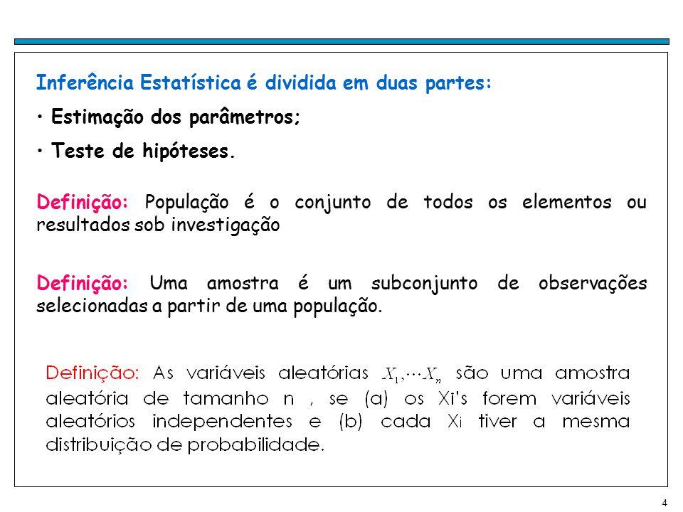 5 Exemplo 1: Considera-se uma população com 5 elementos, que correspondem aos seguintes valores da variável aleatória X: {1,3,5,5,7}.
