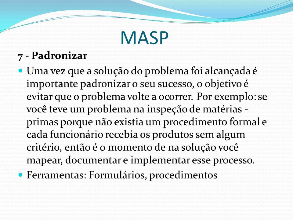 MASP 7 - Padronizar Uma vez que a solução do problema foi alcançada é importante padronizar o seu sucesso, o objetivo é evitar que o problema volte a