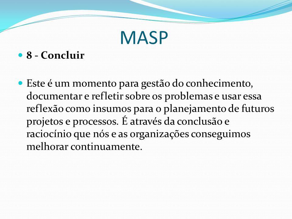MASP 8 - Concluir Este é um momento para gestão do conhecimento, documentar e refletir sobre os problemas e usar essa reflexão como insumos para o planejamento de futuros projetos e processos.