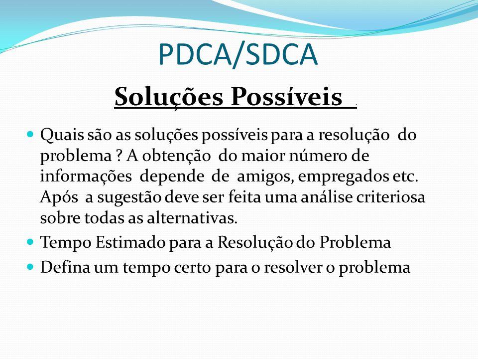 PDCA/SDCA Soluções Possíveis. Quais são as soluções possíveis para a resolução do problema ? A obtenção do maior número de informações depende de amig