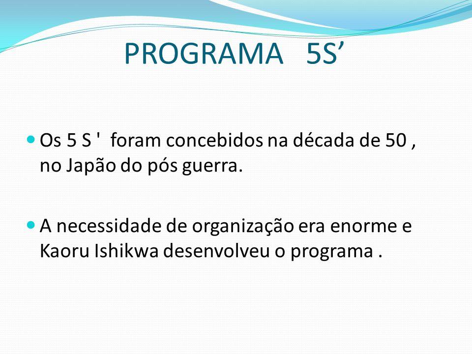 PROGRAMA 5S' Os 5 S ' foram concebidos na década de 50, no Japão do pós guerra. A necessidade de organização era enorme e Kaoru Ishikwa desenvolveu o