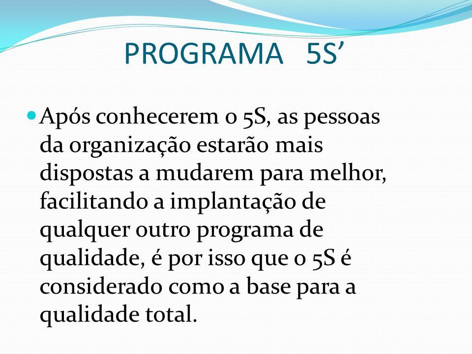 PROGRAMA 5S' Após conhecerem o 5S, as pessoas da organização estarão mais dispostas a mudarem para melhor, facilitando a implantação de qualquer outro programa de qualidade, é por isso que o 5S é considerado como a base para a qualidade total.