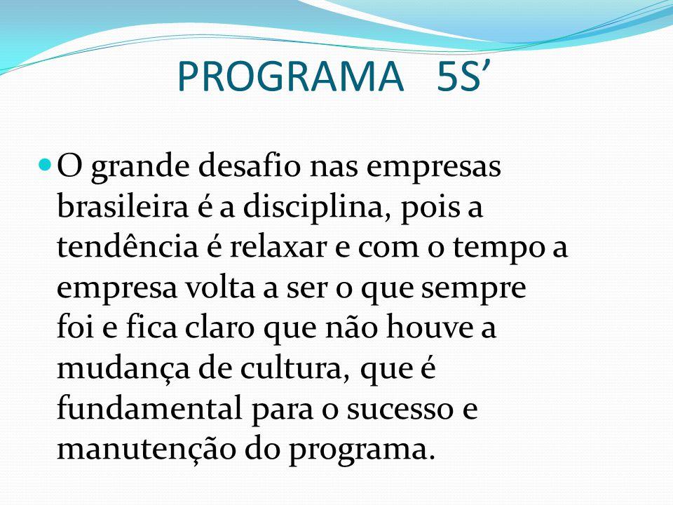 PROGRAMA 5S' O grande desafio nas empresas brasileira é a disciplina, pois a tendência é relaxar e com o tempo a empresa volta a ser o que sempre foi e fica claro que não houve a mudança de cultura, que é fundamental para o sucesso e manutenção do programa.