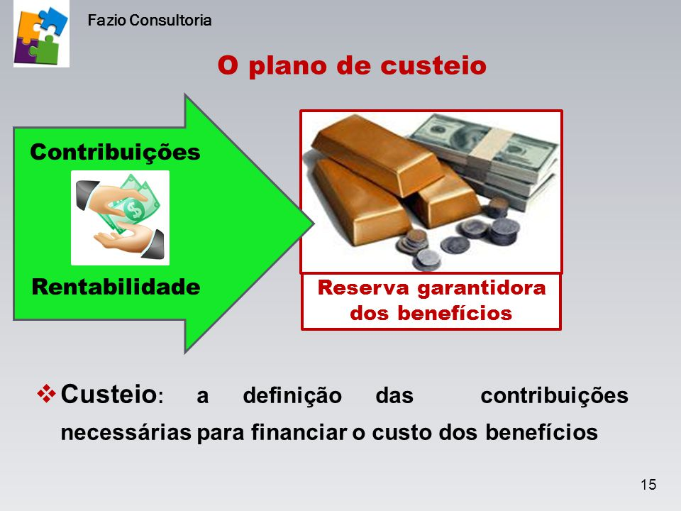 O plano de custeio  Custeio : a definição das contribuições necessárias para financiar o custo dos benefícios 15 Fazio Consultoria Reserva garantidor