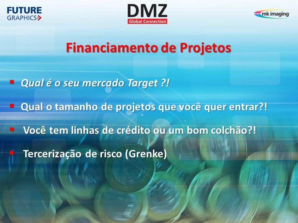Financiamento de Projetos  Qual é o seu mercado Target ?!  Qual o tamanho de projetos que você quer entrar?!  Você tem linhas de crédito ou um bom