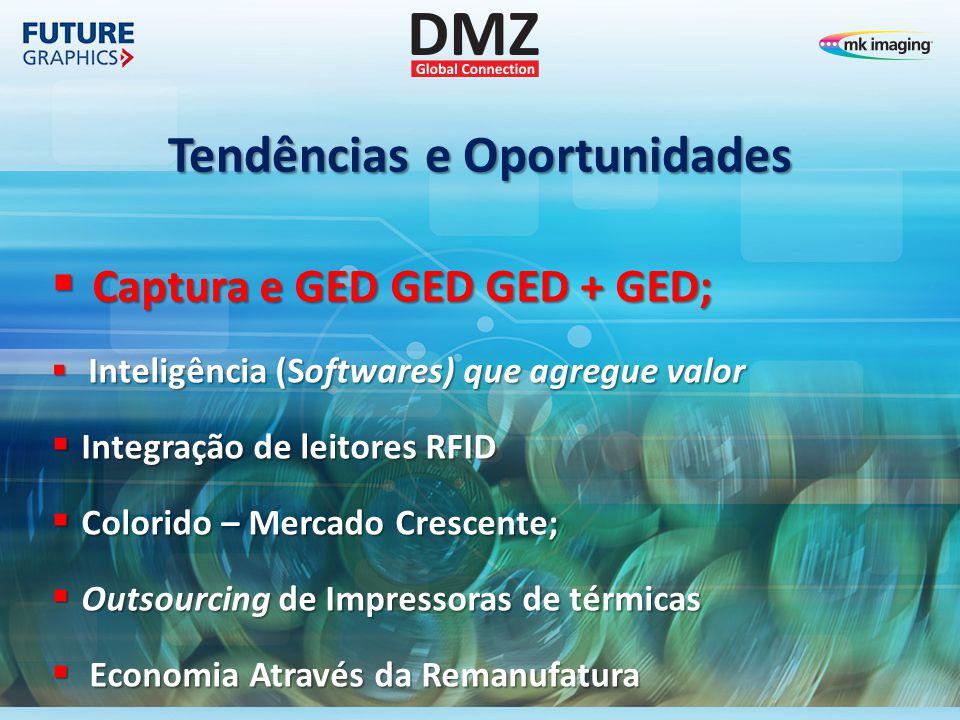Tendências e Oportunidades  Captura e GED GED GED + GED;  Captura e GED GED GED + GED;  Inteligência (Softwares) que agregue valor  Integração de
