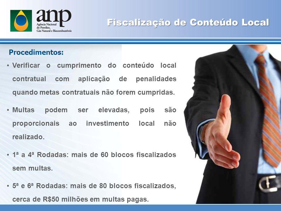 Fiscalização de Conteúdo Local Procedimentos: Verificar o cumprimento do conteúdo local contratual com aplicação de penalidades quando metas contratuais não forem cumpridas.