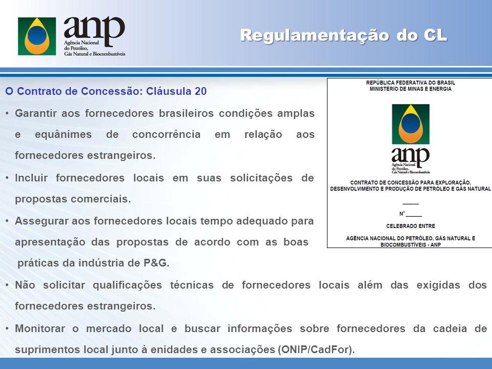 Regulamentação do CL O Contrato de Concessão: Cláusula 20 Garantir aos fornecedores brasileiros condições amplas e equânimes de concorrência em relação aos fornecedores estrangeiros.