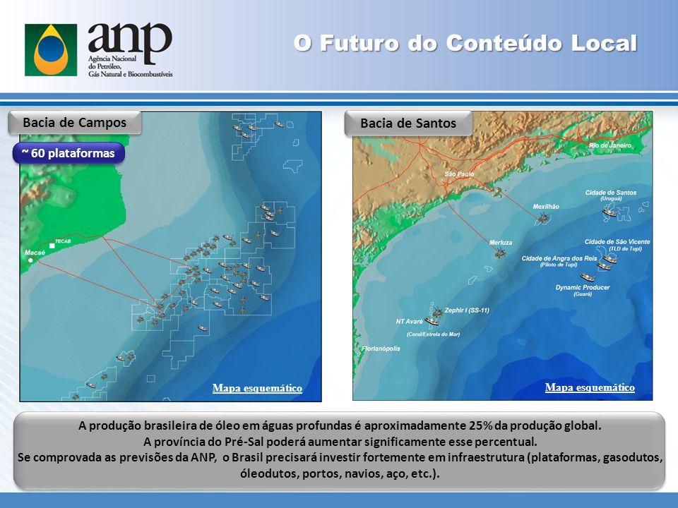 A produção brasileira de óleo em águas profundas é aproximadamente 25% da produção global.