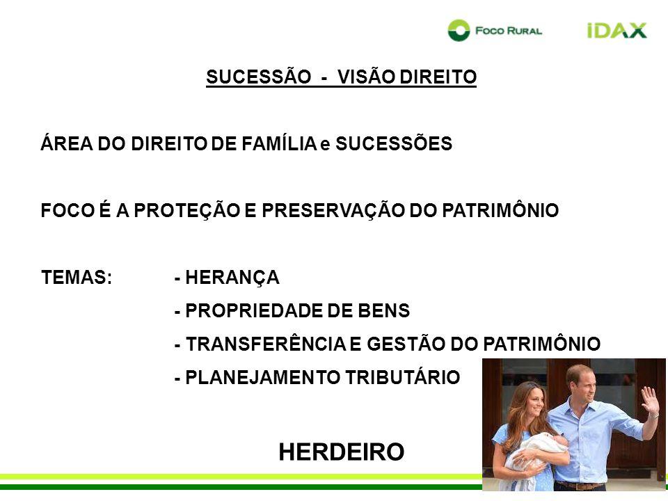 SUCESSÃO - VISÃO DIREITO ÁREA DO DIREITO DE FAMÍLIA e SUCESSÕES FOCO É A PROTEÇÃO E PRESERVAÇÃO DO PATRIMÔNIO TEMAS:- HERANÇA - PROPRIEDADE DE BENS - TRANSFERÊNCIA E GESTÃO DO PATRIMÔNIO - PLANEJAMENTO TRIBUTÁRIO HERDEIRO