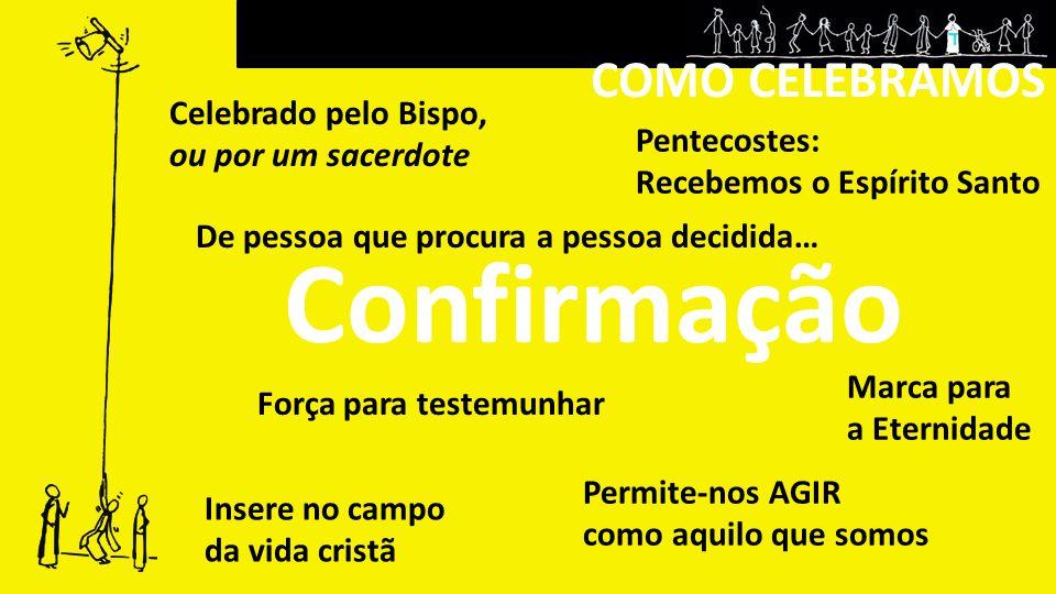 COMO CELEBRAMOS Confirmação Força para testemunhar Pentecostes: Recebemos o Espírito Santo De pessoa que procura a pessoa decidida… Permite-nos AGIR c