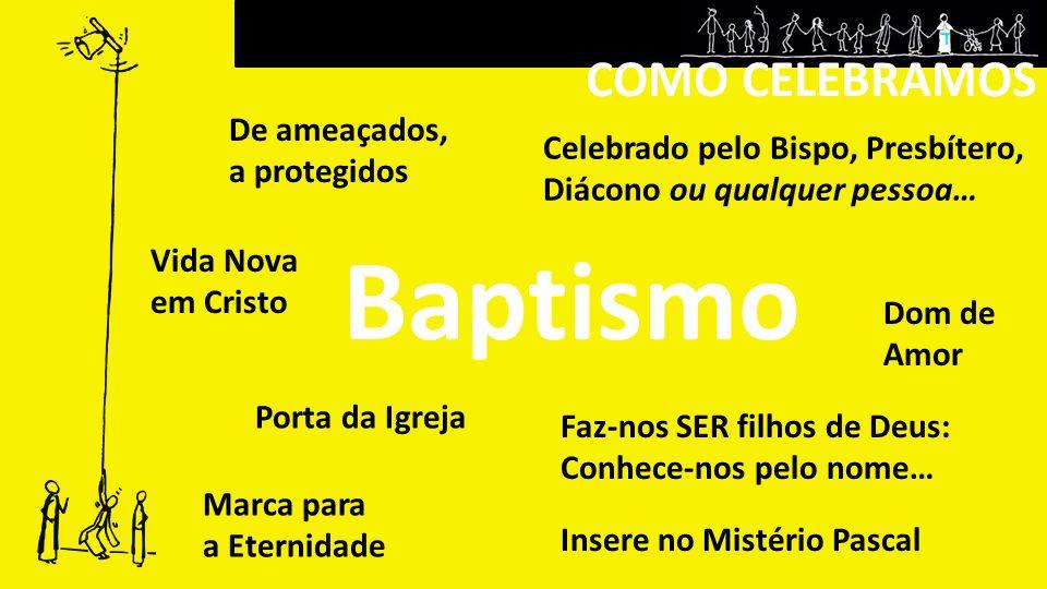 COMO CELEBRAMOS Baptismo Porta da Igreja Insere no Mistério Pascal De ameaçados, a protegidos Dom de Amor Faz-nos SER filhos de Deus: Conhece-nos pelo