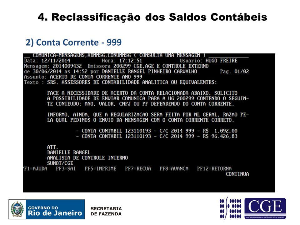 4. Reclassificação dos Saldos Contábeis 2) Conta Corrente - 999