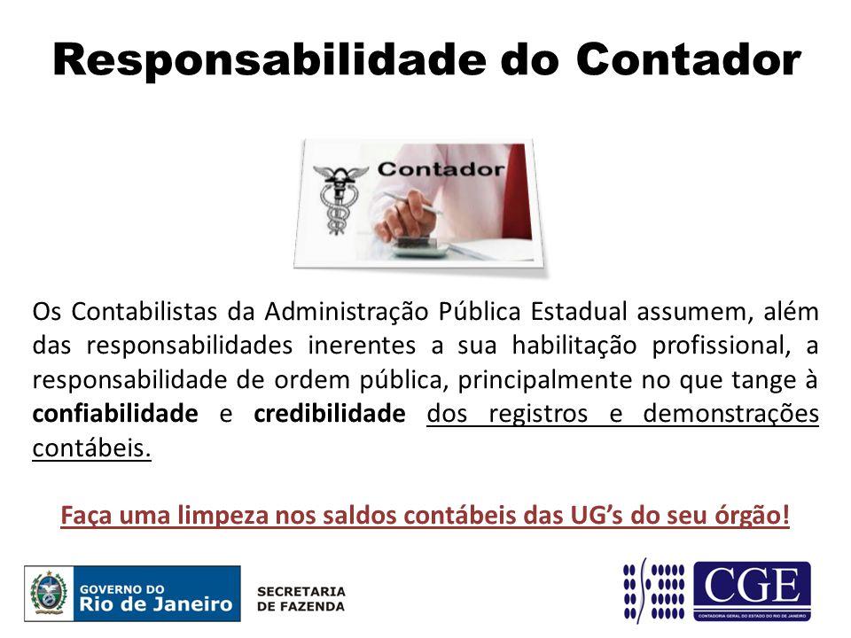 Responsabilidade do Contador Os Contabilistas da Administração Pública Estadual assumem, além das responsabilidades inerentes a sua habilitação profis
