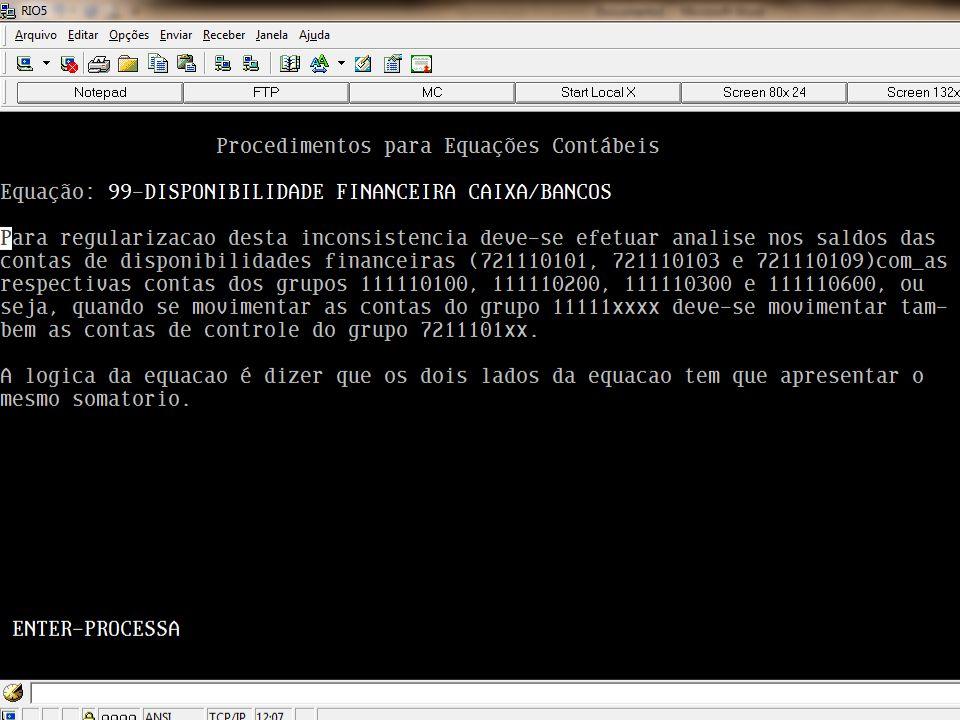 Lembrando que existe uma ferramenta para auxiliar o usuário na regularização do LISCONTIR. Para tanto o usuário deverá utilizar a tecla F4 – INSTRUÇÃO