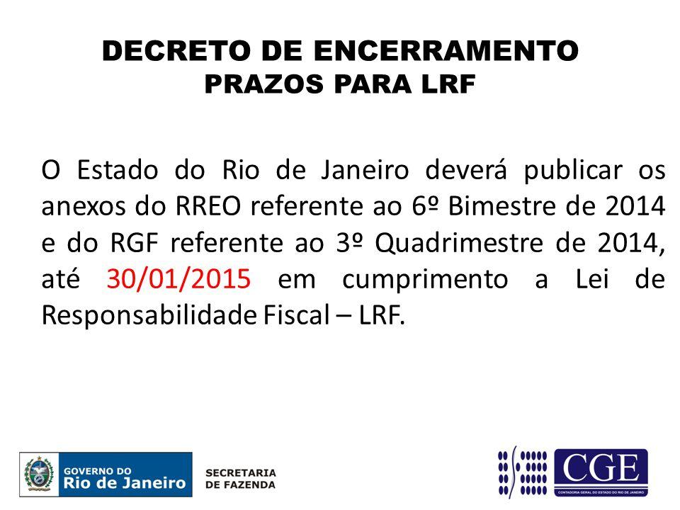 O Estado do Rio de Janeiro deverá publicar os anexos do RREO referente ao 6º Bimestre de 2014 e do RGF referente ao 3º Quadrimestre de 2014, até 30/01