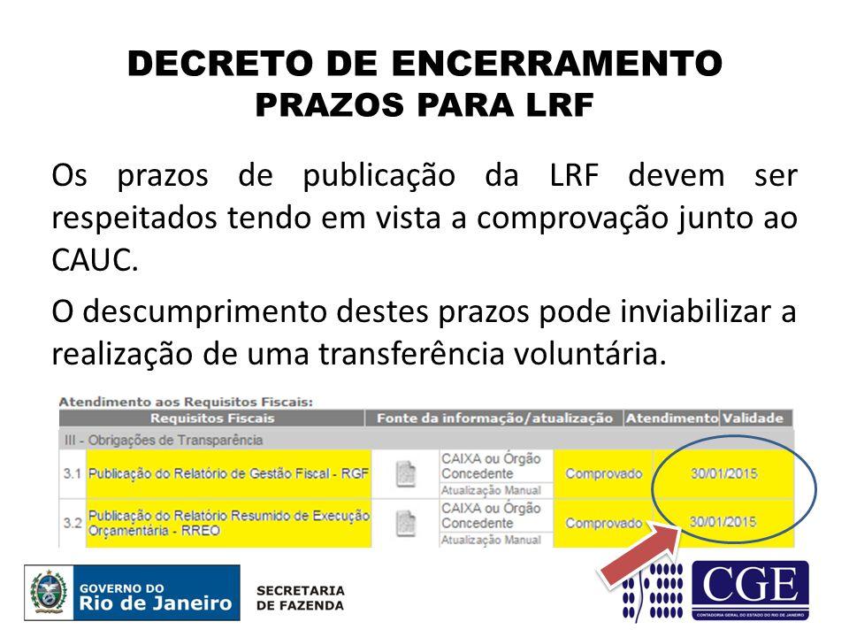 Os prazos de publicação da LRF devem ser respeitados tendo em vista a comprovação junto ao CAUC.