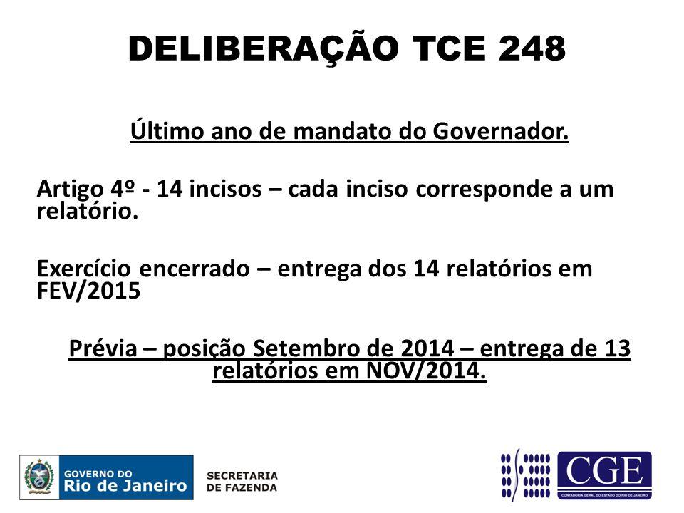 Último ano de mandato do Governador. Artigo 4º - 14 incisos – cada inciso corresponde a um relatório. Exercício encerrado – entrega dos 14 relatórios