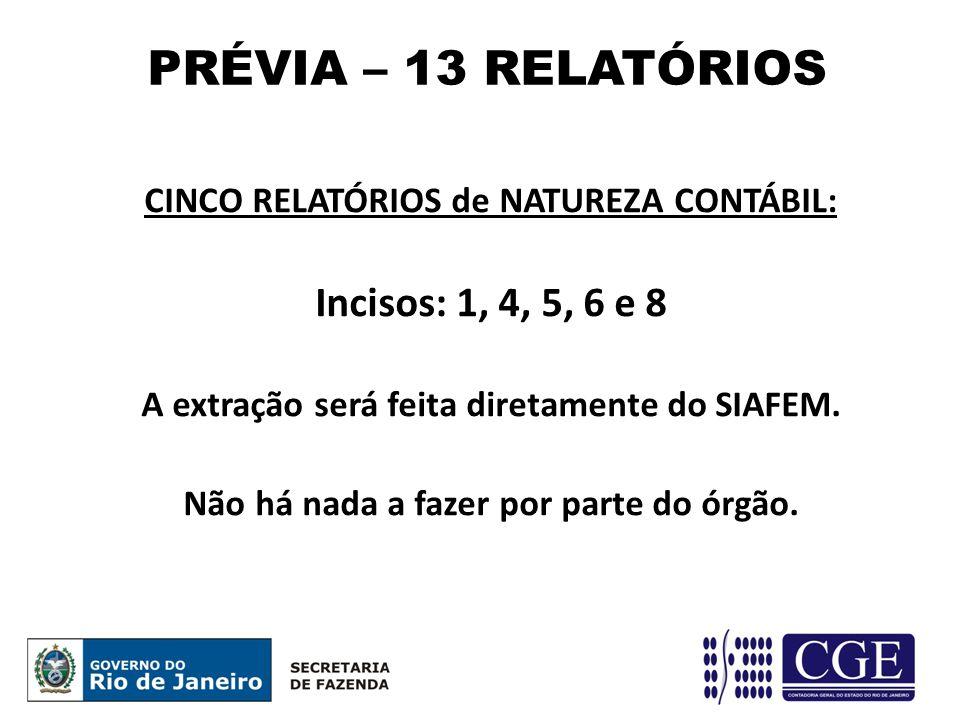 CINCO RELATÓRIOS de NATUREZA CONTÁBIL: Incisos: 1, 4, 5, 6 e 8 A extração será feita diretamente do SIAFEM.