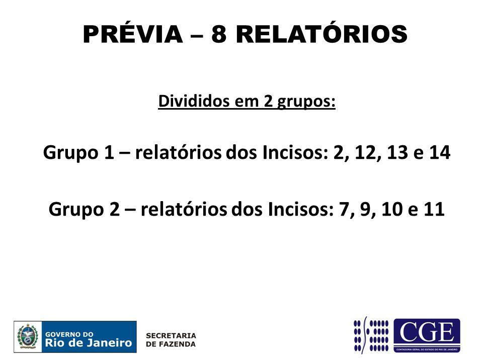 Divididos em 2 grupos: Grupo 1 – relatórios dos Incisos: 2, 12, 13 e 14 Grupo 2 – relatórios dos Incisos: 7, 9, 10 e 11 PRÉVIA – 8 RELATÓRIOS