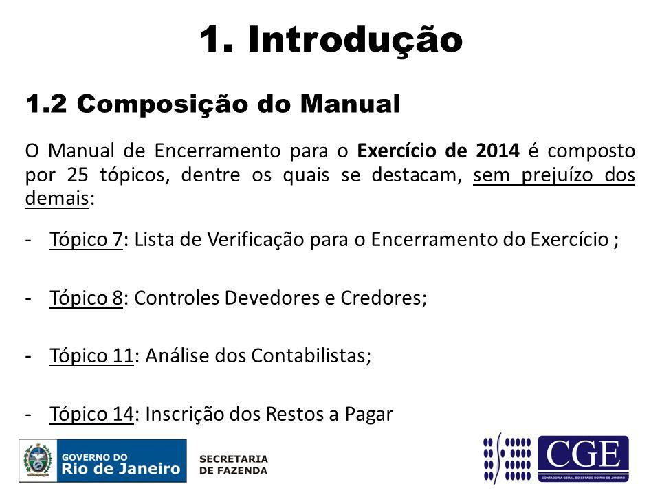 1.2 Composição do Manual 1. Introdução O Manual de Encerramento para o Exercício de 2014 é composto por 25 tópicos, dentre os quais se destacam, sem p