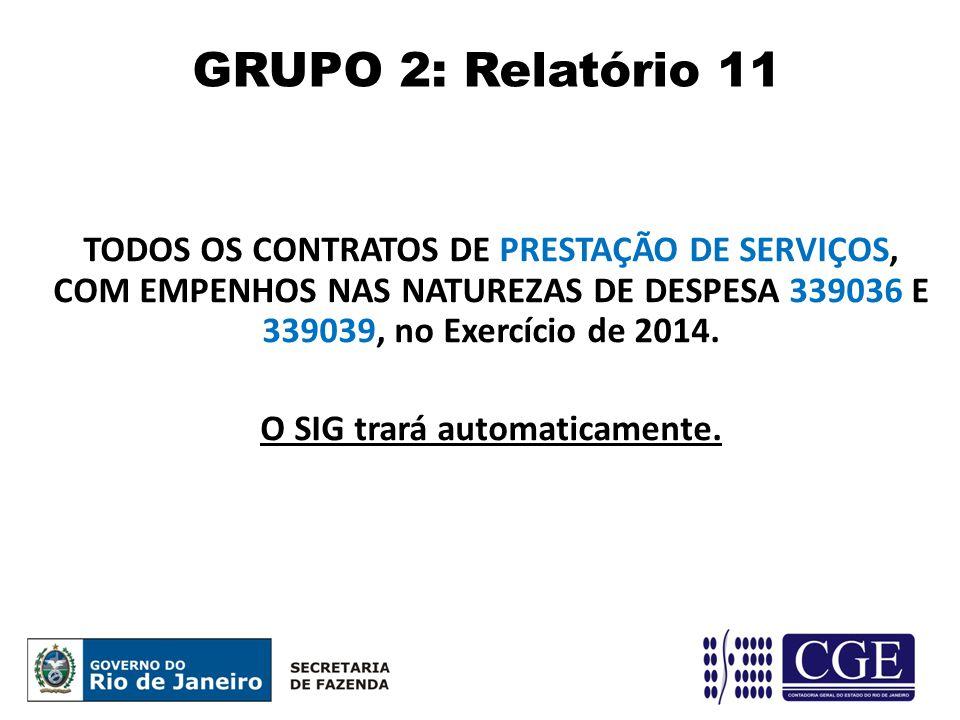 TODOS OS CONTRATOS DE PRESTAÇÃO DE SERVIÇOS, COM EMPENHOS NAS NATUREZAS DE DESPESA 339036 E 339039, no Exercício de 2014. O SIG trará automaticamente.