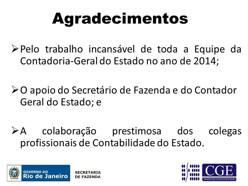 Agradecimentos  Pelo trabalho incansável de toda a Equipe da Contadoria-Geral do Estado no ano de 2014;  O apoio do Secretário de Fazenda e do Conta