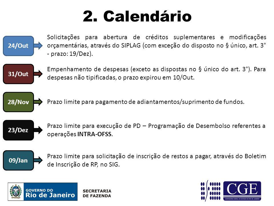2. Calendário 24/Out Solicitações para abertura de créditos suplementares e modificações orçamentárias, através do SIPLAG (com exceção do disposto no