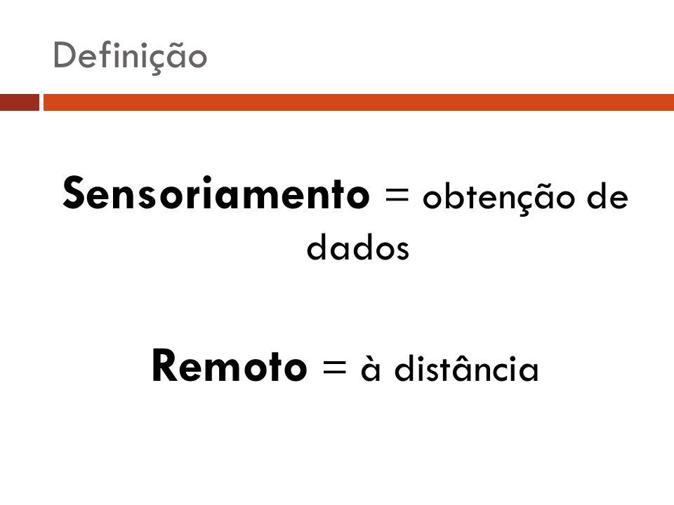Sensoriamento = obtenção de dados Remoto = à distância Definição