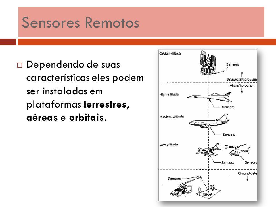  Dependendo de suas características eles podem ser instalados em plataformas terrestres, aéreas e orbitais. Sensores Remotos