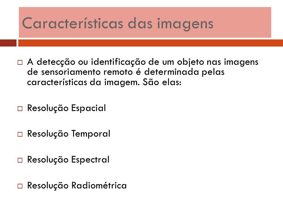  A detecção ou identificação de um objeto nas imagens de sensoriamento remoto é determinada pelas características da imagem. São elas:  Resolução Es