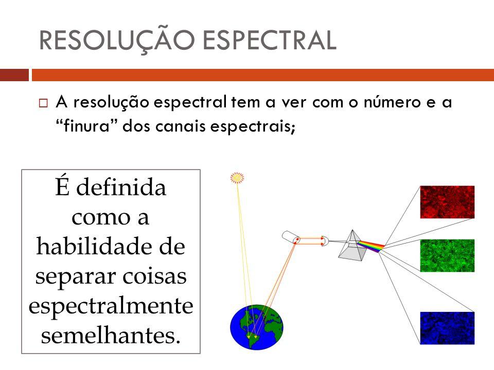 """ A resolução espectral tem a ver com o número e a """"finura"""" dos canais espectrais; RESOLUÇÃO ESPECTRAL É definida como a habilidade de separar coisas"""