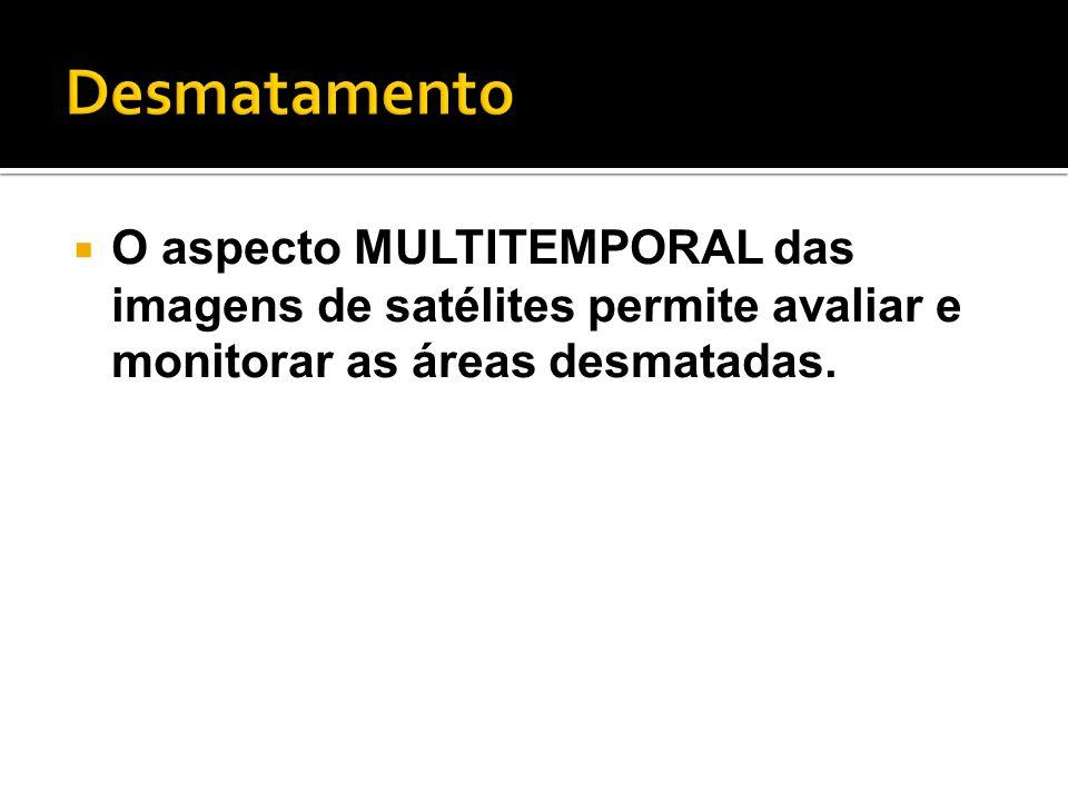  O aspecto MULTITEMPORAL das imagens de satélites permite avaliar e monitorar as áreas desmatadas.