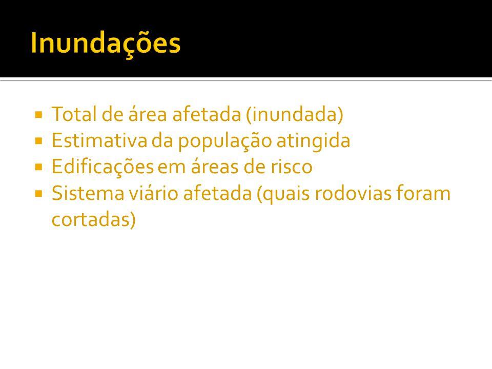  Total de área afetada (inundada)  Estimativa da população atingida  Edificações em áreas de risco  Sistema viário afetada (quais rodovias foram c