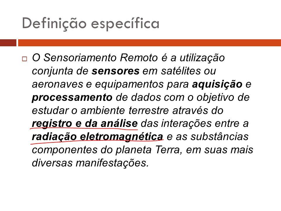 Definição específica  O Sensoriamento Remoto é a utilização conjunta de sensores em satélites ou aeronaves e equipamentos para aquisição e processame