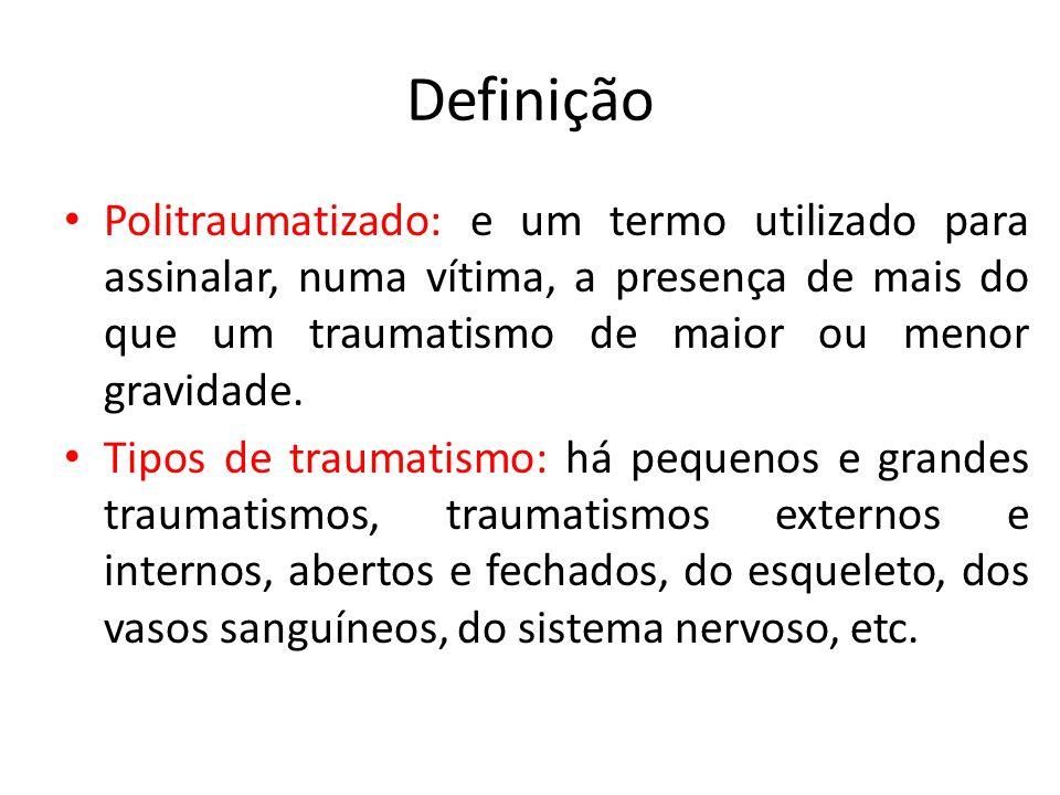 Definição Politraumatizado: e um termo utilizado para assinalar, numa vítima, a presença de mais do que um traumatismo de maior ou menor gravidade. Ti
