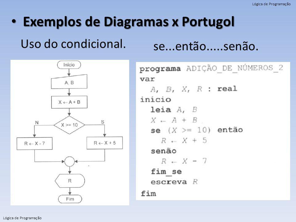 Lógica de Programação Exemplos de Diagramas x Portugol Exemplos de Diagramas x Portugol Uso do condicional. se...então.....senão.
