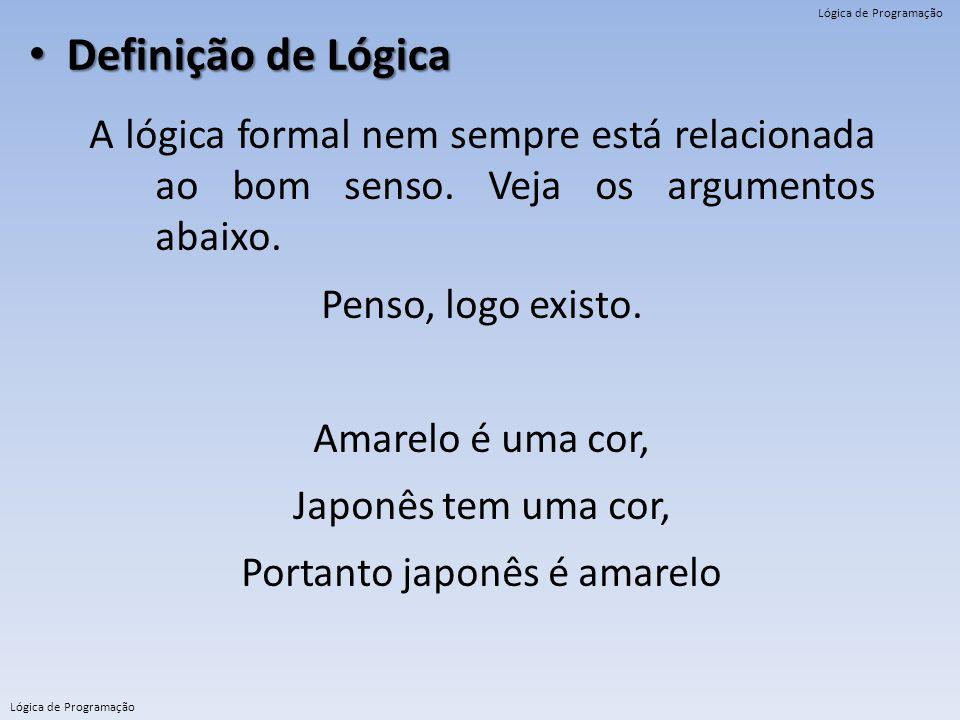 Lógica de Programação Definição de Lógica Definição de Lógica A lógica formal nem sempre está relacionada ao bom senso. Veja os argumentos abaixo. Pen