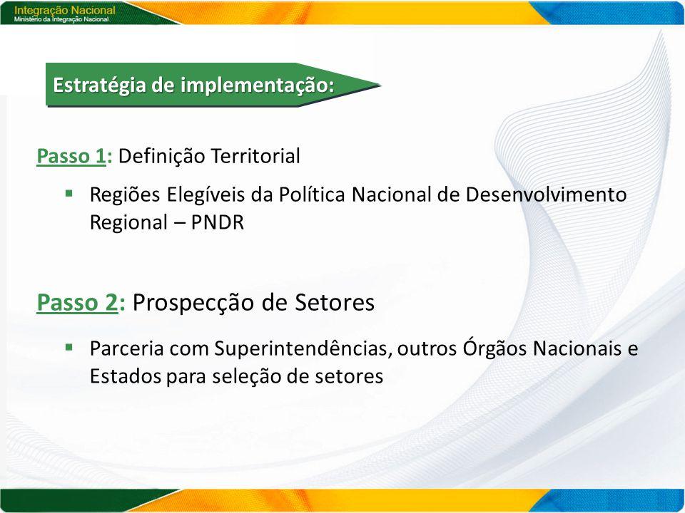 Passo 1: Definição Territorial  Regiões Elegíveis da Política Nacional de Desenvolvimento Regional – PNDR Passo 2: Prospecção de Setores  Parceria com Superintendências, outros Órgãos Nacionais e Estados para seleção de setores Estratégia de implementação: