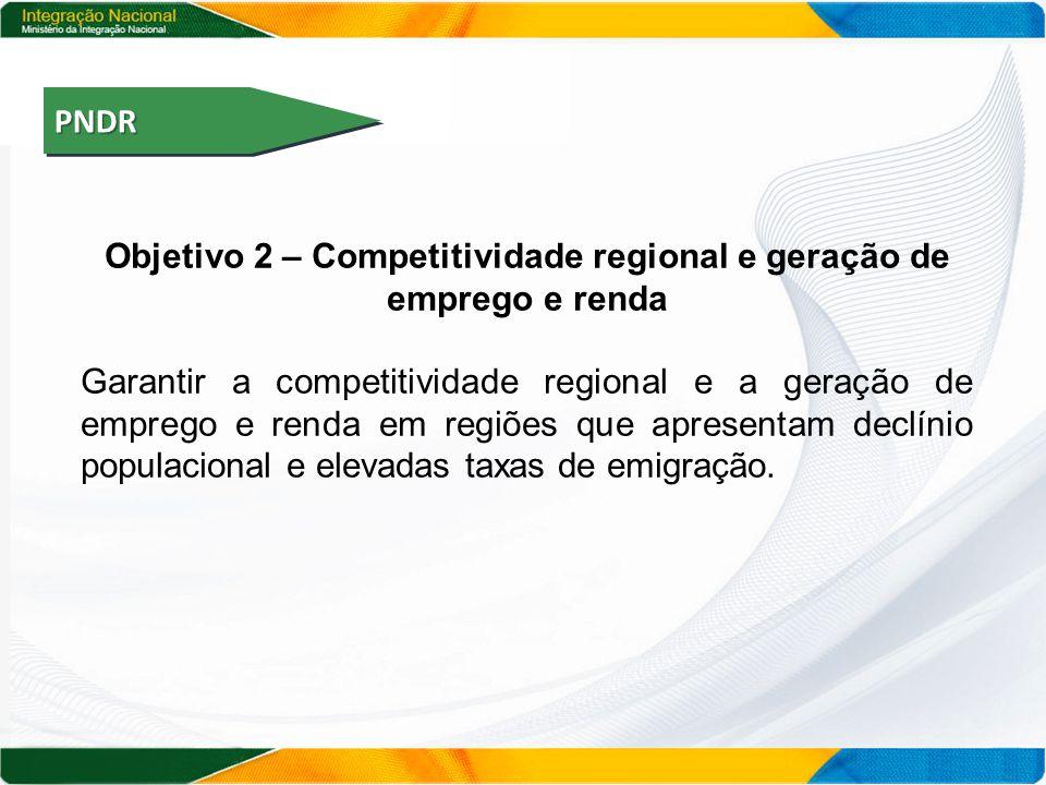 PNDRPNDR Objetivo 2 – Competitividade regional e geração de emprego e renda Garantir a competitividade regional e a geração de emprego e renda em regiões que apresentam declínio populacional e elevadas taxas de emigração.