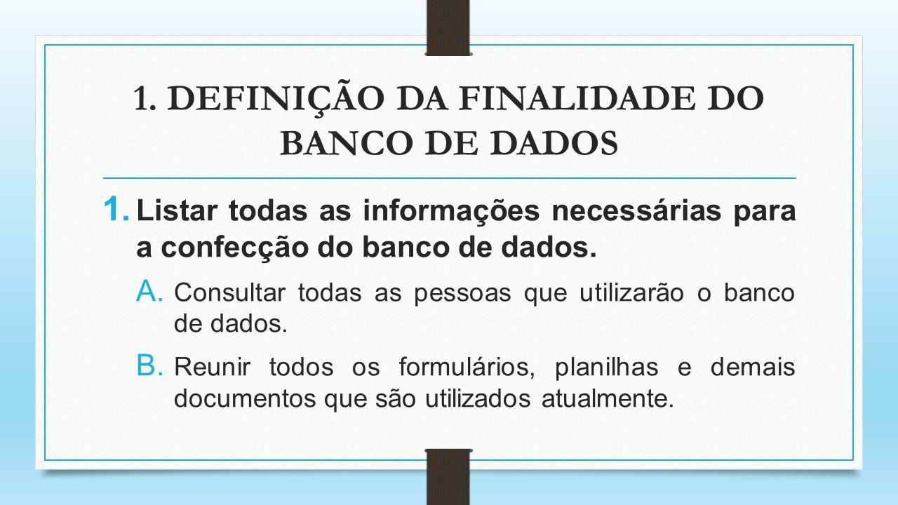 1. DEFINIÇÃO DA FINALIDADE DO BANCO DE DADOS 1. Listar todas as informações necessárias para a confecção do banco de dados. A. Consultar todas as pess