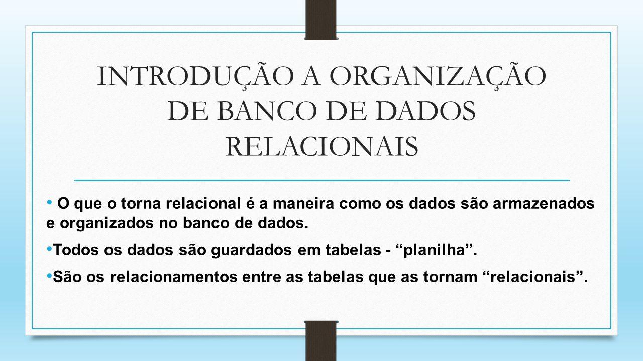 INTRODUÇÃO A ORGANIZAÇÃO DE BANCO DE DADOS RELACIONAIS O que o torna relacional é a maneira como os dados são armazenados e organizados no banco de da