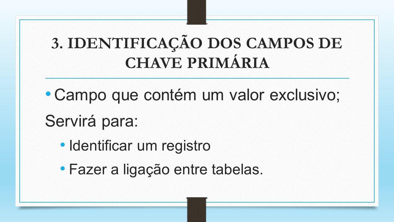 3. IDENTIFICAÇÃO DOS CAMPOS DE CHAVE PRIMÁRIA Campo que contém um valor exclusivo; Servirá para: Identificar um registro Fazer a ligação entre tabelas