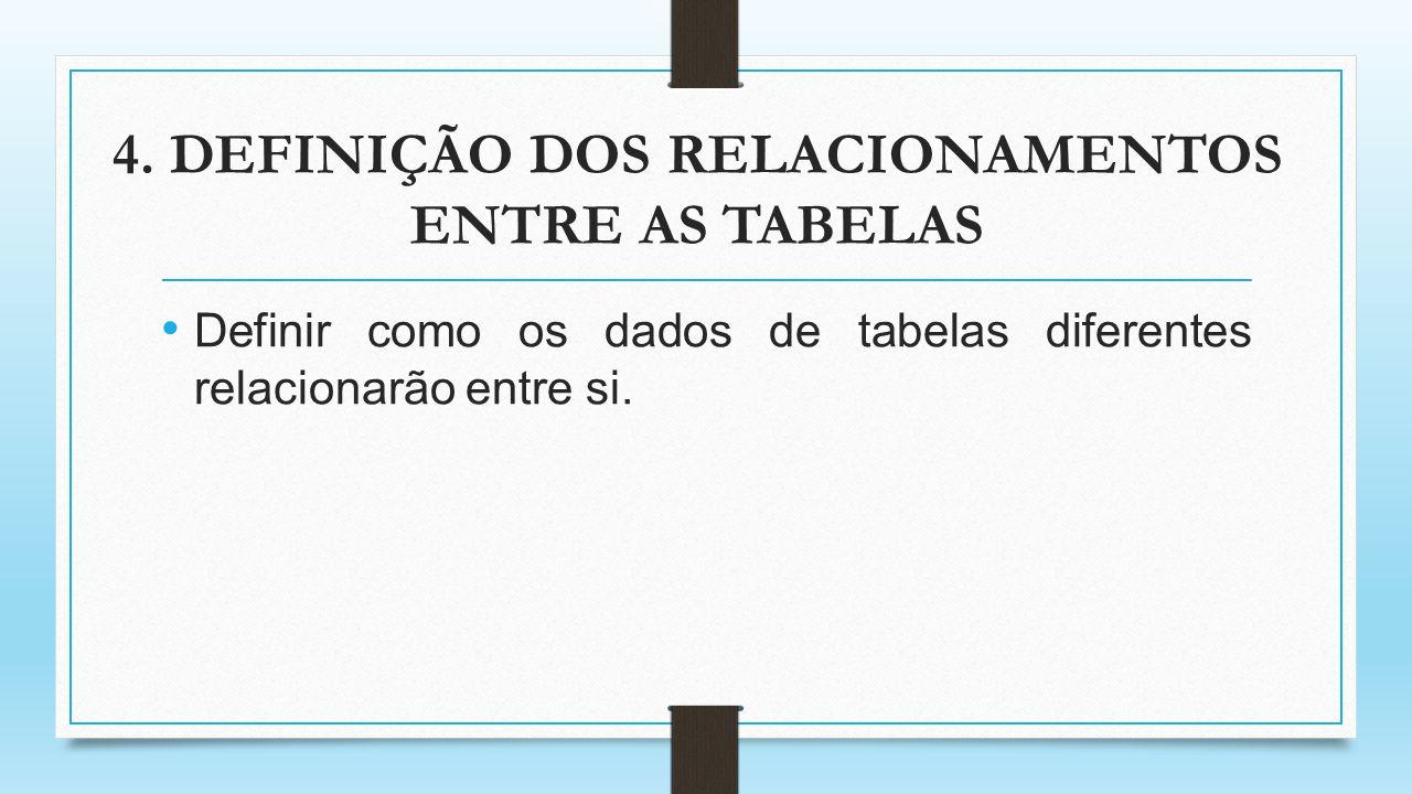 4. DEFINIÇÃO DOS RELACIONAMENTOS ENTRE AS TABELAS Definir como os dados de tabelas diferentes relacionarão entre si.