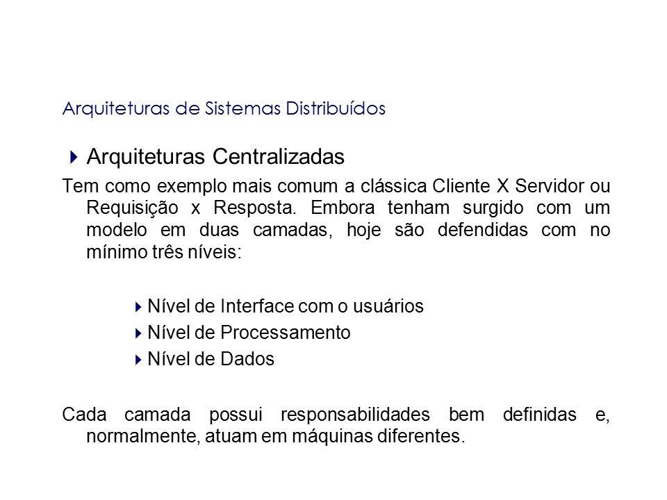 Arquiteturas de Sistemas Distribuídos  Arquiteturas Centralizadas Tem como exemplo mais comum a clássica Cliente X Servidor ou Requisição x Resposta.