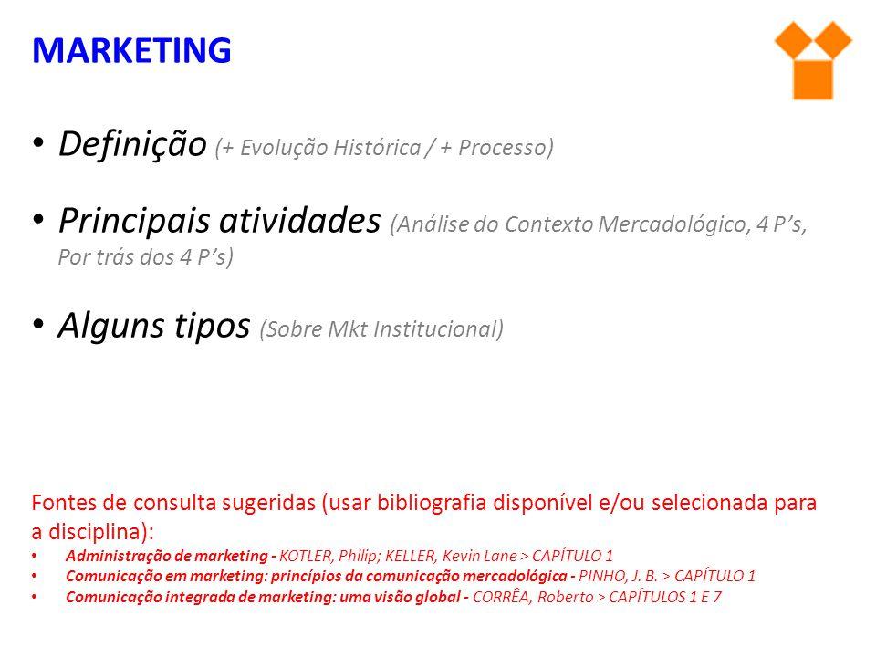 MARKETING Definição (+ Evolução Histórica / + Processo) Principais atividades (Análise do Contexto Mercadológico, 4 P's, Por trás dos 4 P's) Alguns ti