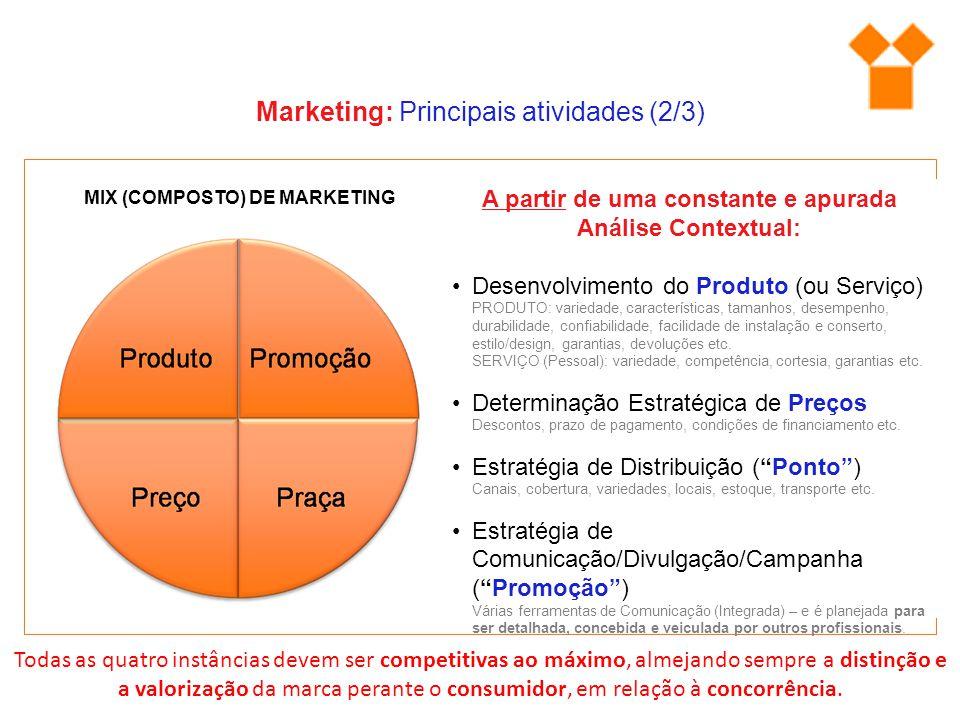 MIX (COMPOSTO) DE MARKETING Marketing: Principais atividades (2/3) A partir de uma constante e apurada Análise Contextual: Desenvolvimento do Produto